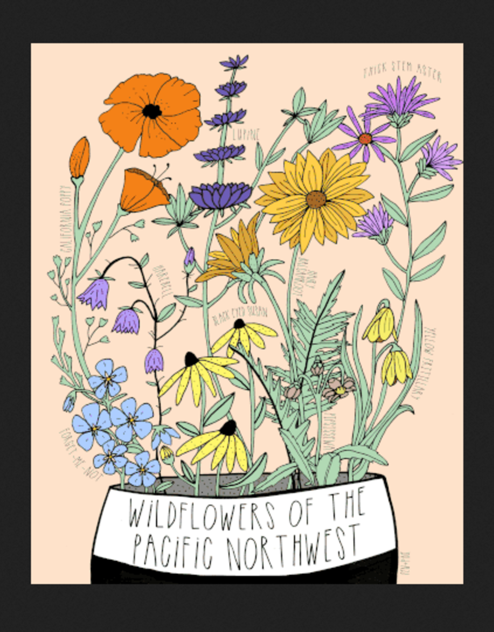 PEN AND PINE Wildflowers of the Pacific Northwest Art Print