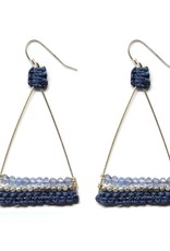 Silver Plated Triangle Earrings With Iolite and Navy Thread