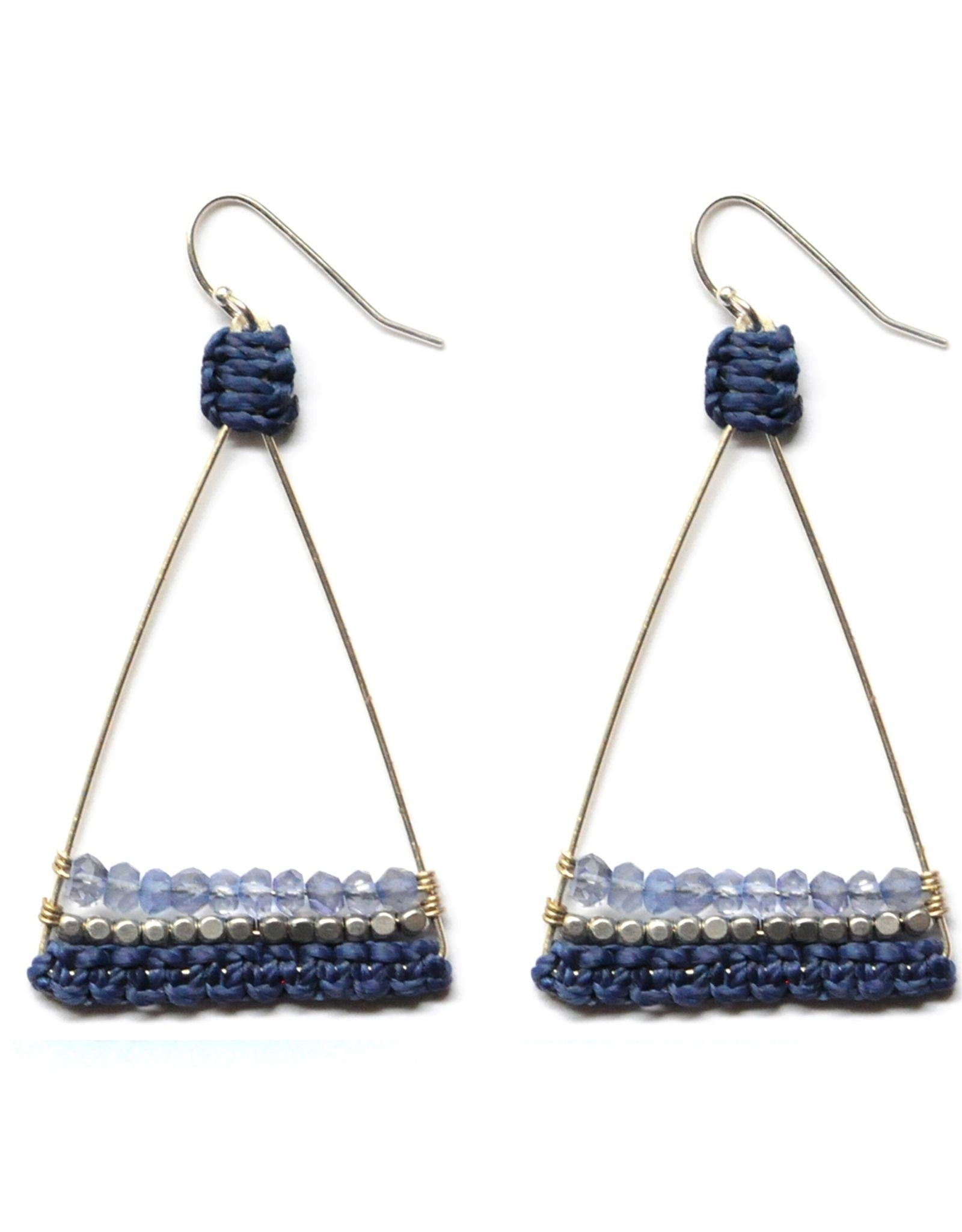 EARRINGS HOOKS SILVER PLATED BRASS TRIANGLE IOLITE AND SILVER BRASS BEADS WITH NAVY THREAD