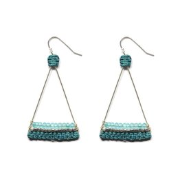 Silver Plated Triangle Earrings With Apatite and Teal Thread