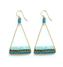 Brass Triangle Earrings With Apatite and Teal Thread
