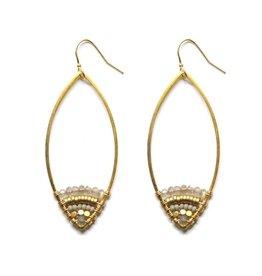 Brass Teardrop Earrings With Labradorite Beads