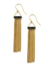 Brass Triangle Earrings With Brass Chain