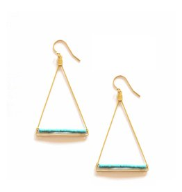 Brass Triangle Earrings With Turquoise Howalite Beads
