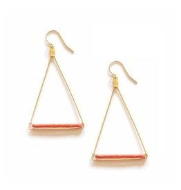 Brass Triangle Earrings With Coral Howalite Beads