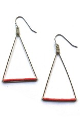 Triangle Earrings With Coral Howalite Beads