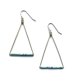 Triangle Earrings With Turquoise Howalite Beads