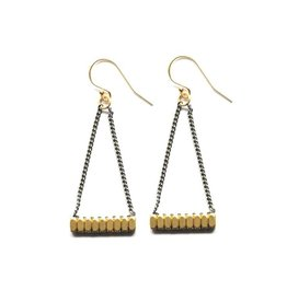 Brass Triangle Earrings With Chain and Brass Beads