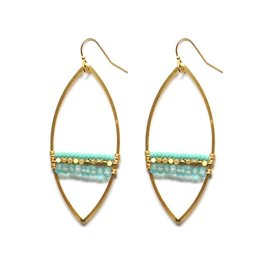 Brass Oval Earrings With Apatite and Turquoise
