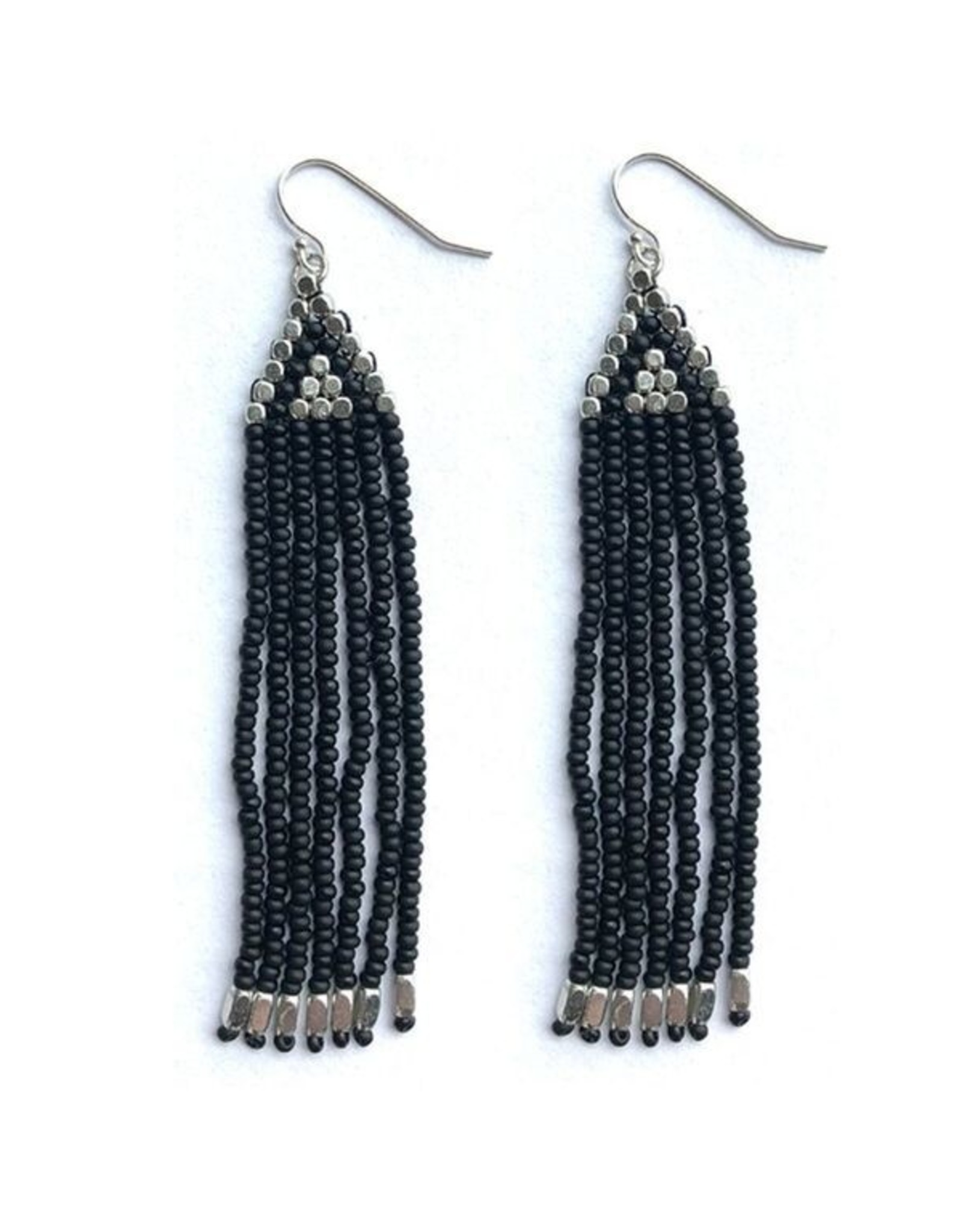 Beaded Silver and Black Triangle Fringe Earrings