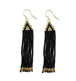 Beaded Brass and Black Triangle Fringe Earrings