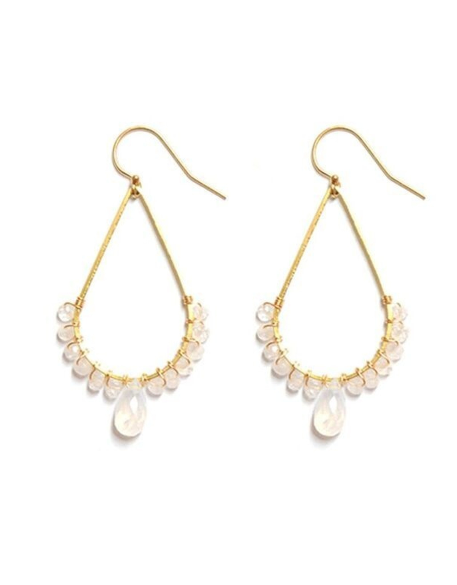 Brass Teardrop Earrings With Moonstone