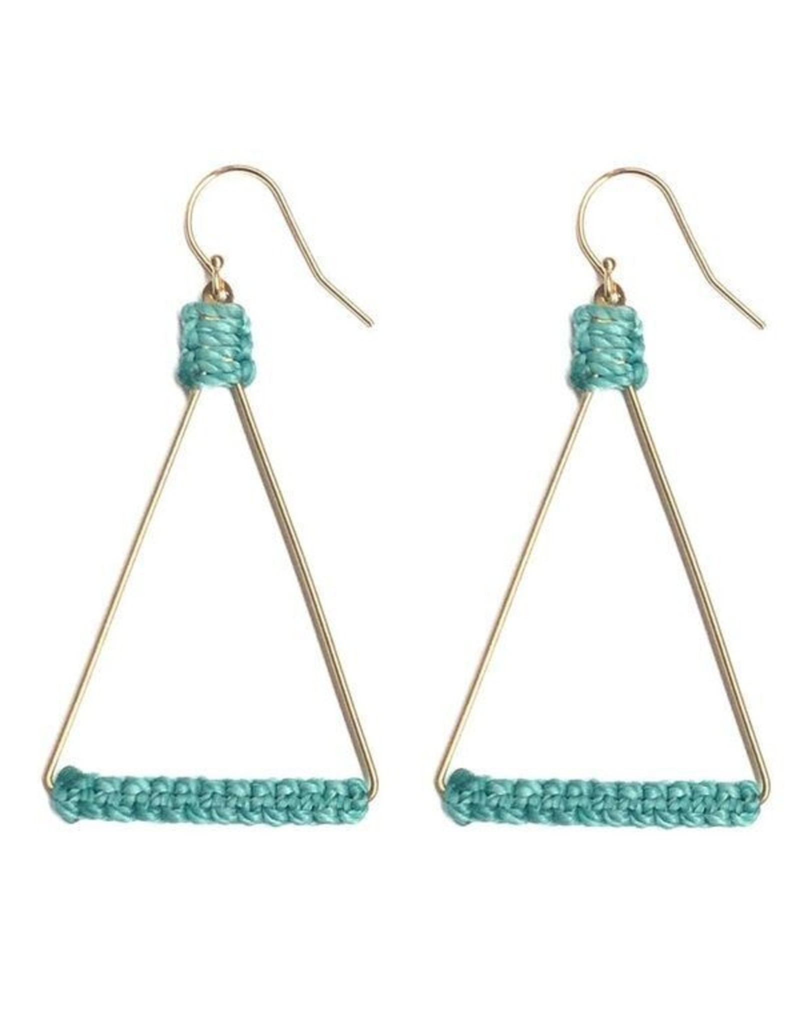 Brass Triangle Earrings with Turquoise Waxed Thread