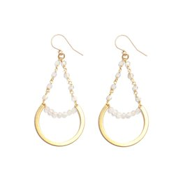 Brass Circle Earrings With Moonstone Beads