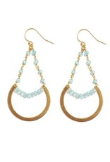 Brass Circle Earrings With Apatite Beads
