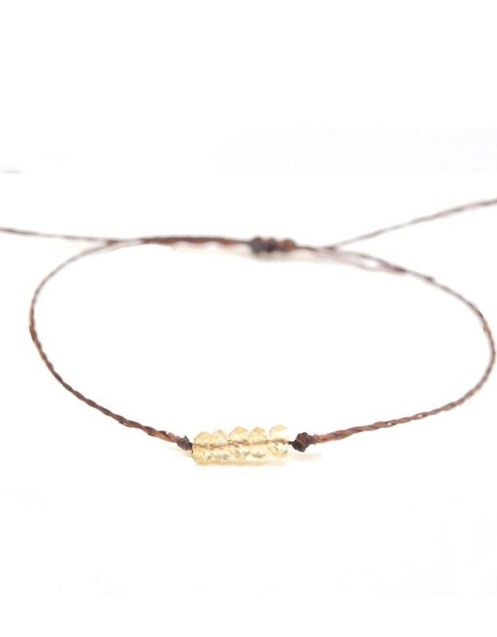 Waxed Thread Bracelet With Citrine Beads