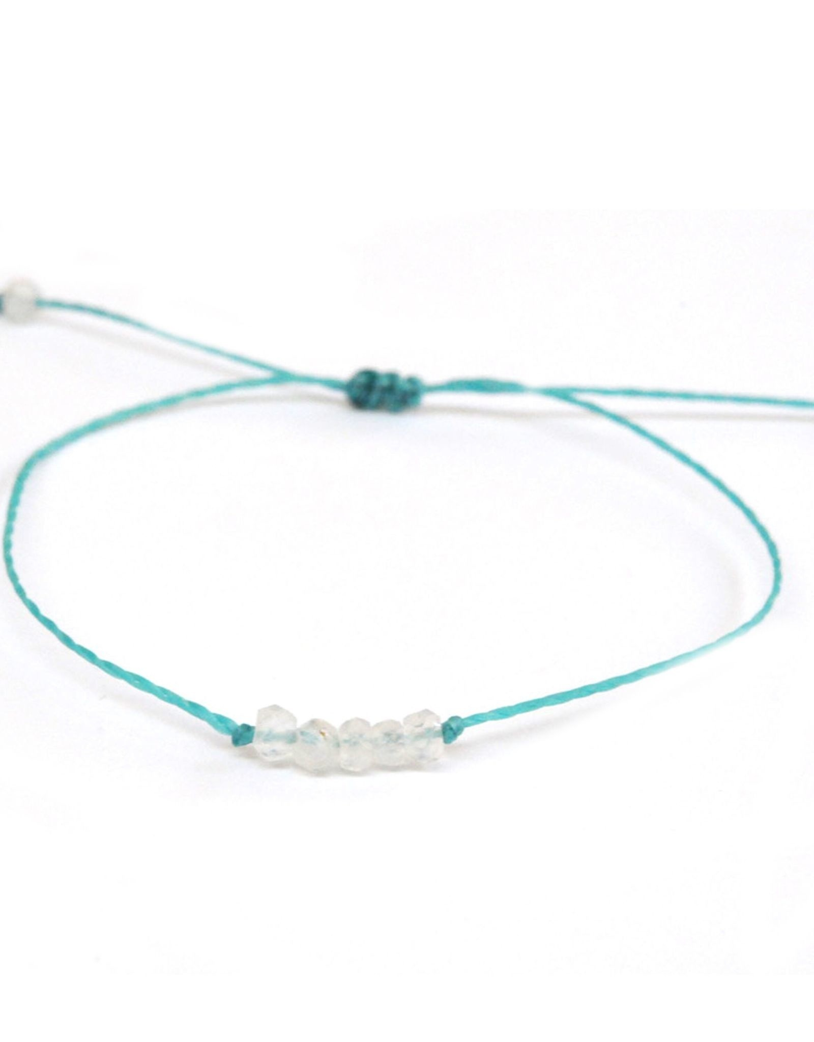 Waxed Thread Bracelet With Moonstone Beads
