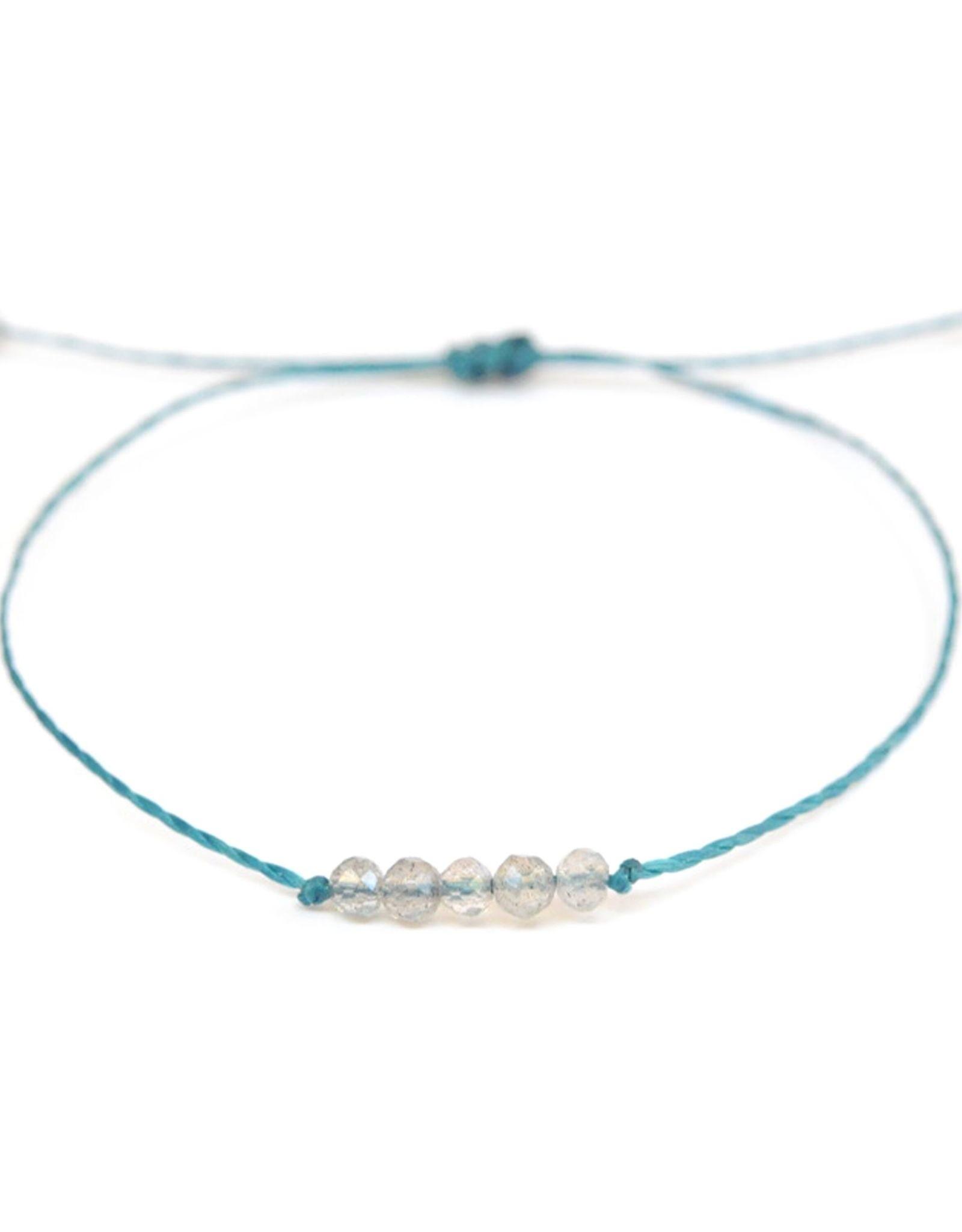 Waxed Thread Bracelet With Labradorite Beads