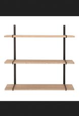Oak Wood and Metal Wall Shelf