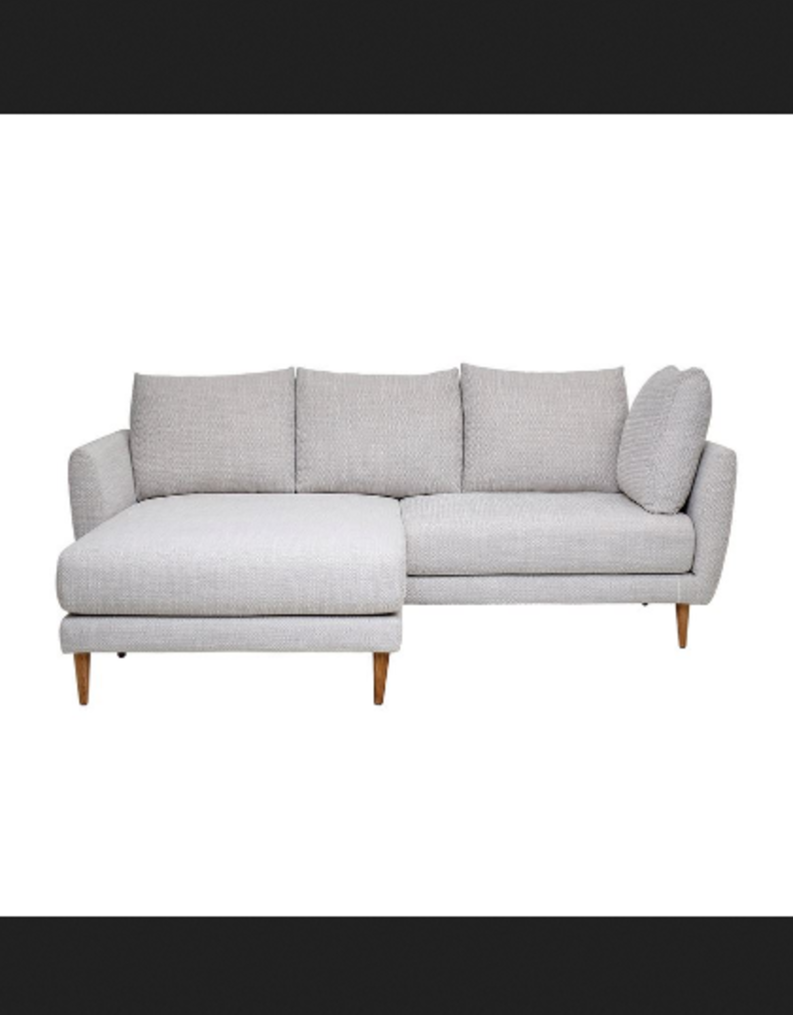 Beige Sofa with Chaise Lounge and Wood Legs