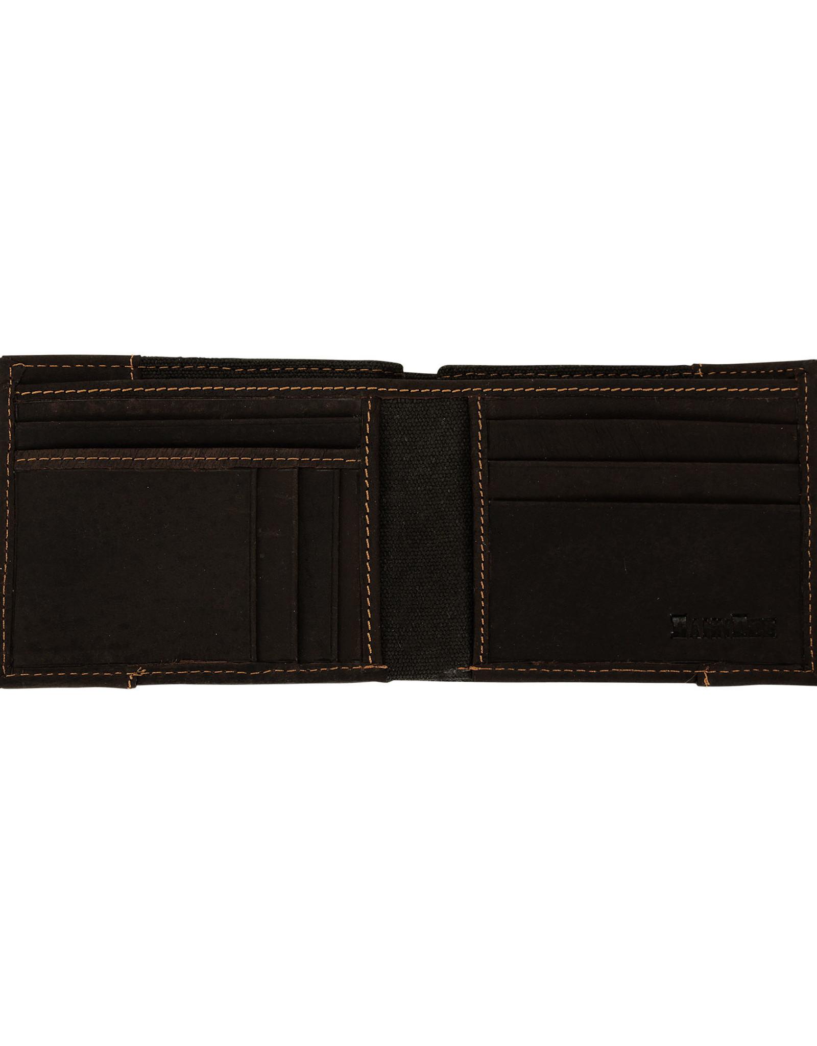 DAMNDOG Canvas and Leather Billfold Wallet - Grey