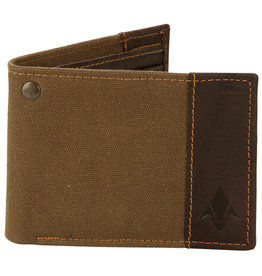 DAMNDOG Canvas and Leather Billfold Wallet - Brown/Green