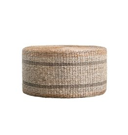 POUF OTTOMAN ROUND 29.5 INCHES NATURAL WOVEN WATER HYACINTH