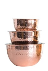 Hammered Stainless Steel Bowl With Copper Finish