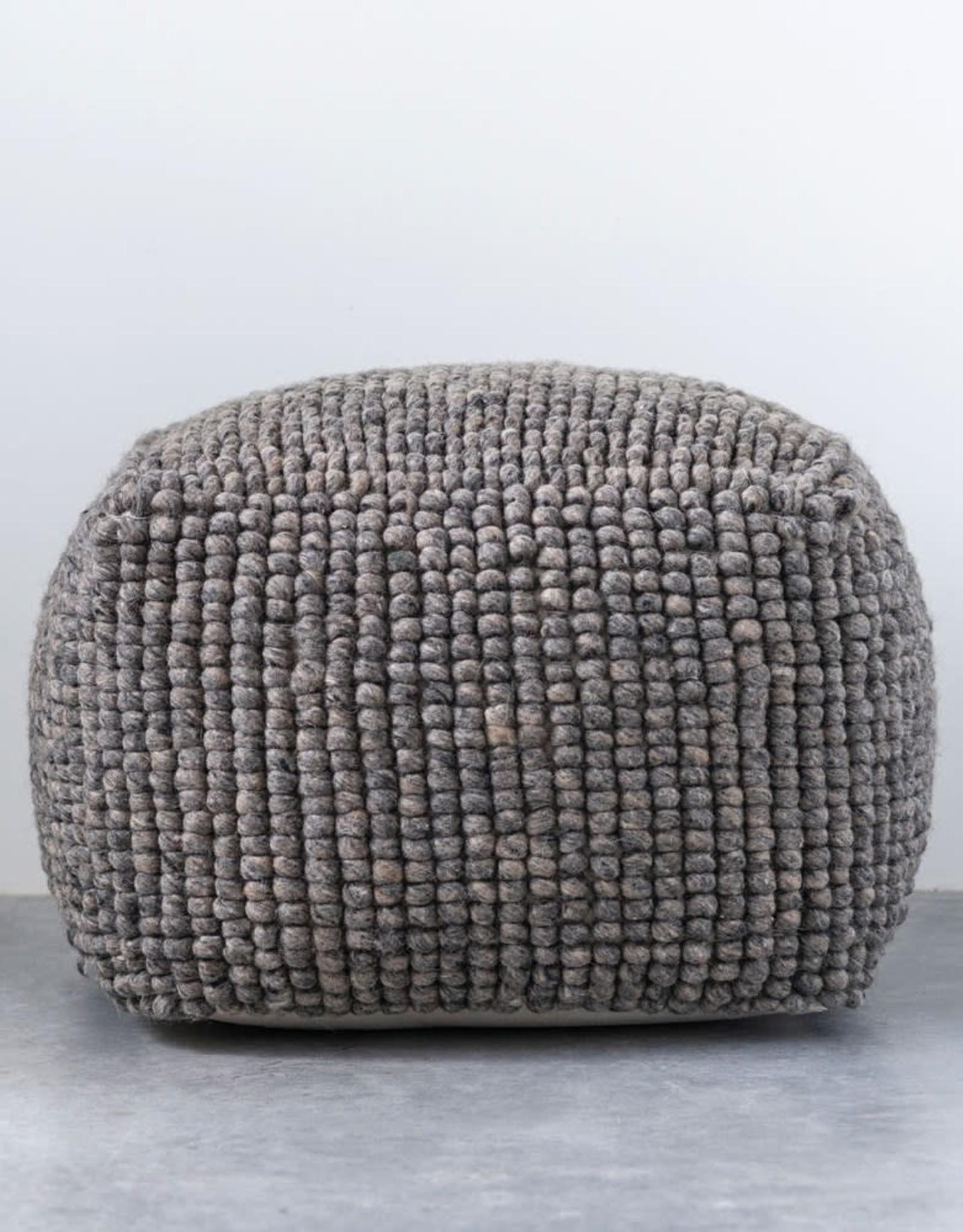 New Zealand Grey Wool Pouf