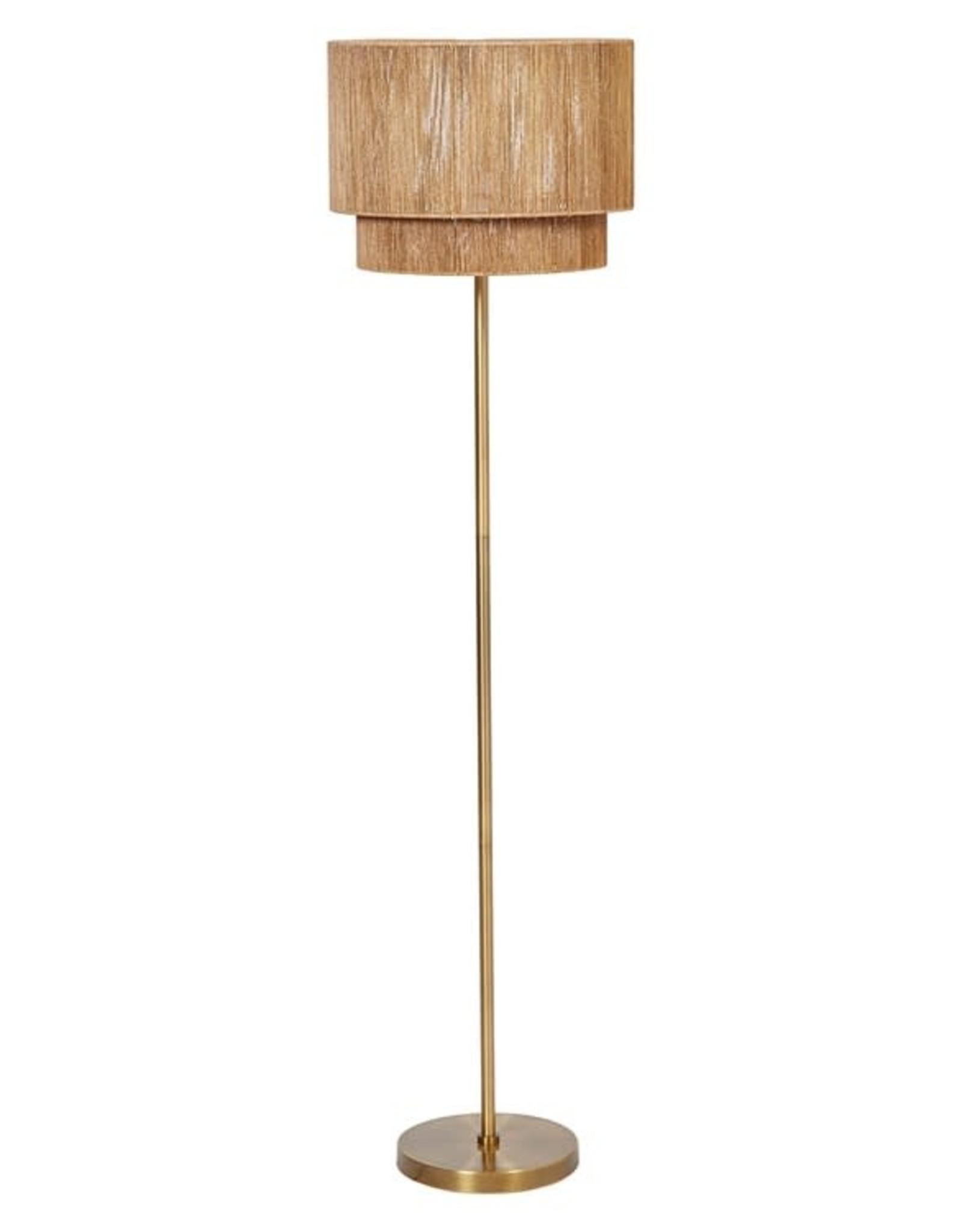 Gold Finish Natural Floor Lamp