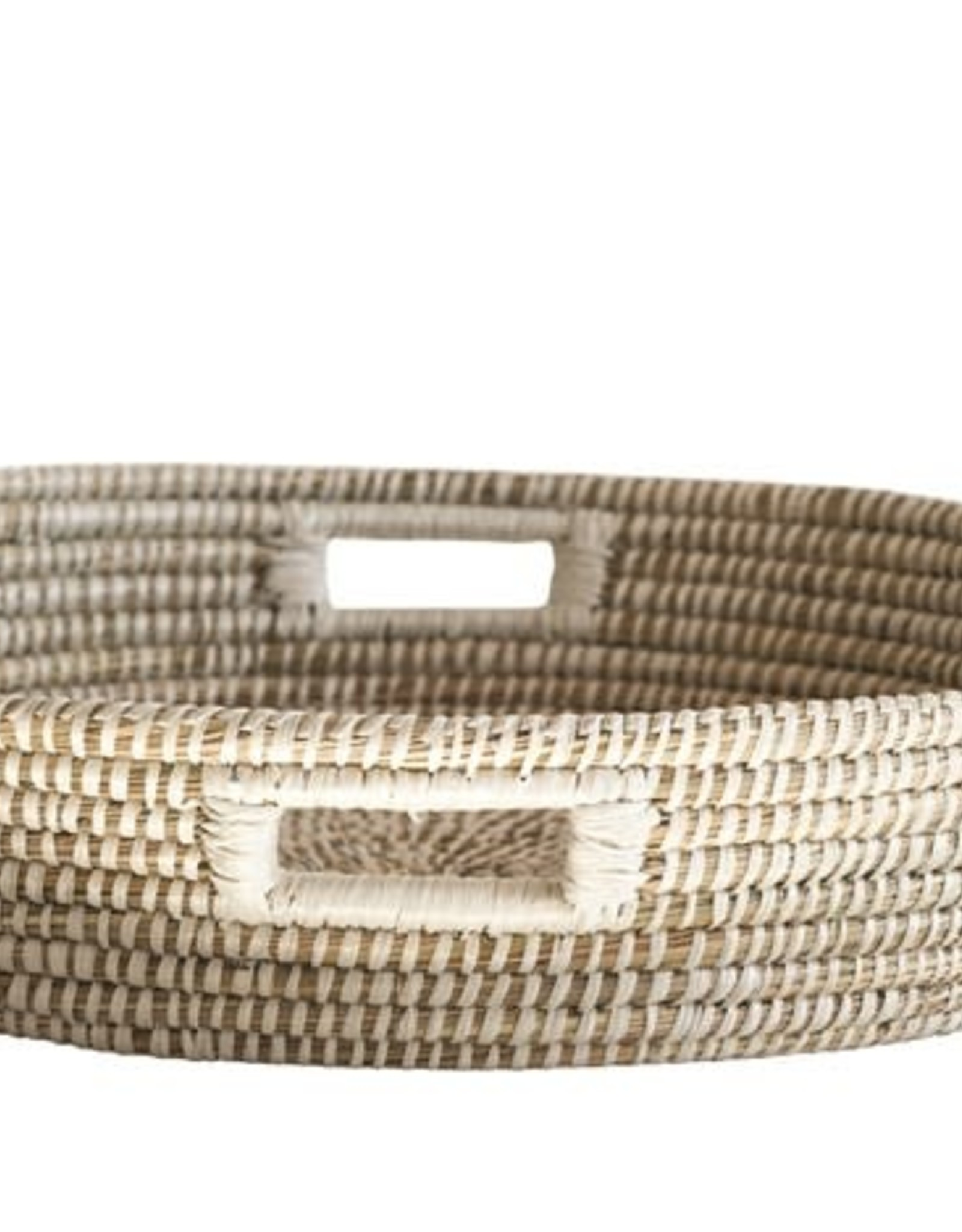 Hand Woven White and Natural Grass Basket