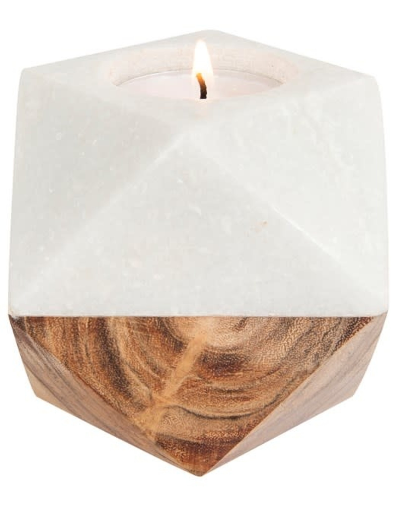 White Marble and Wood Tealight Holder