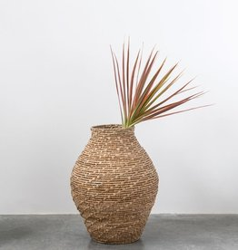 BASKET HAND WOVEN CATTAIL 16 INCHES ROUND X 20-1/2 INCHES