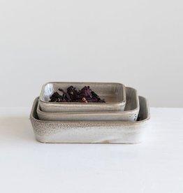 Reactive Glaze Beige Stoneware Dish