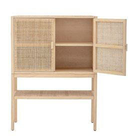CABINET WOVEN RATTAN AND WOOD AND SHELF 34-1/2 INCH W X 15-1/4 INCH D X 47 INCH H