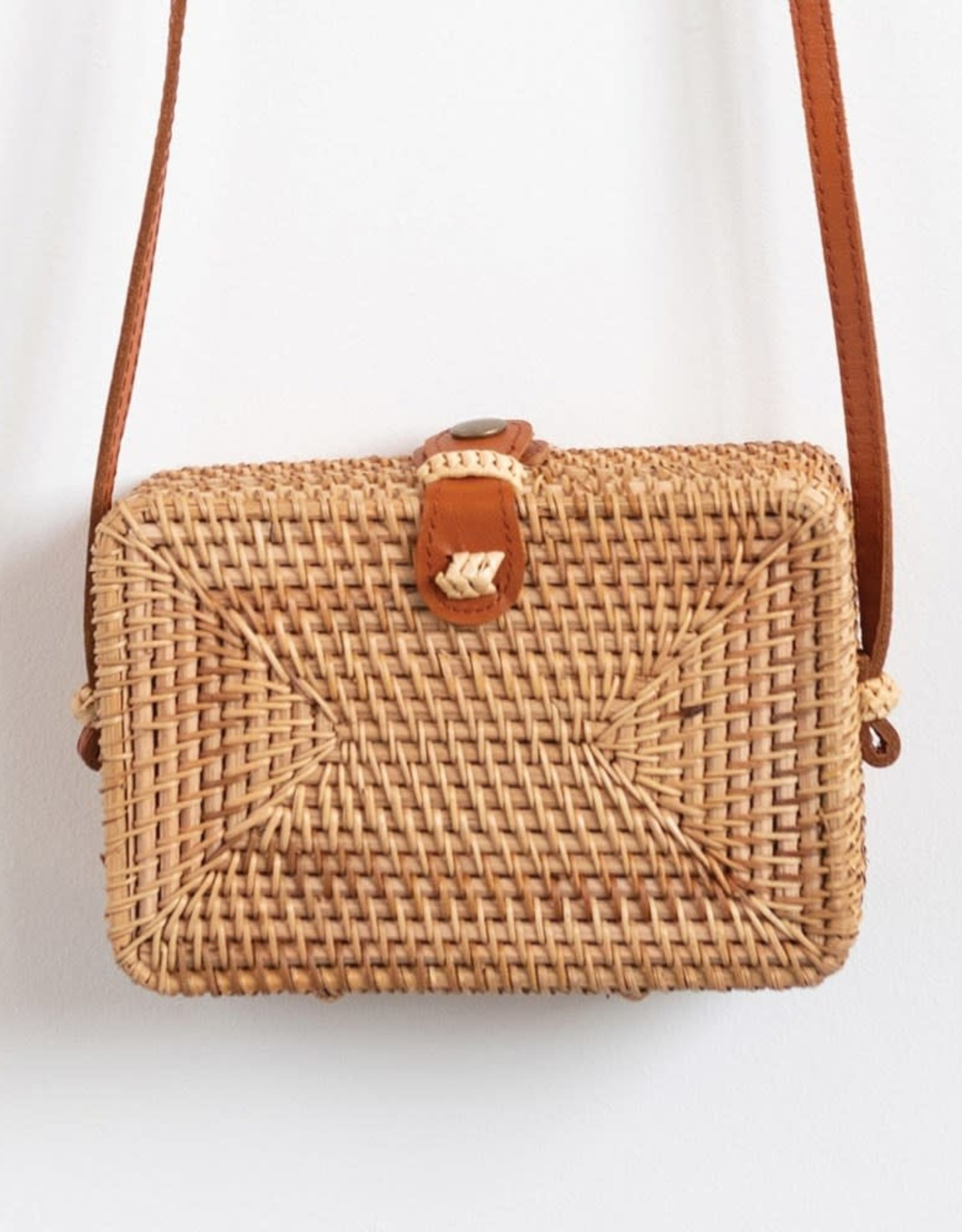Woven Rattan Shoulder Bag With Leather Strap