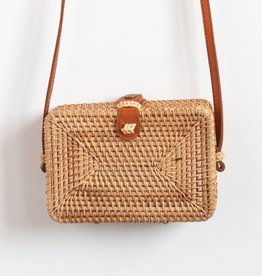 BAG SHOULDER WOVEN RATTAN SIENA LEATHER STRAP