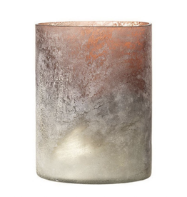 TEALIGHT HOLDER PINK AND WHITE FROST