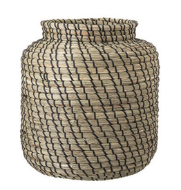 """HAND WOVEN SEAGRASS BASKET - NATURAL AND BLACK 11"""" D X 11-3/4""""H"""