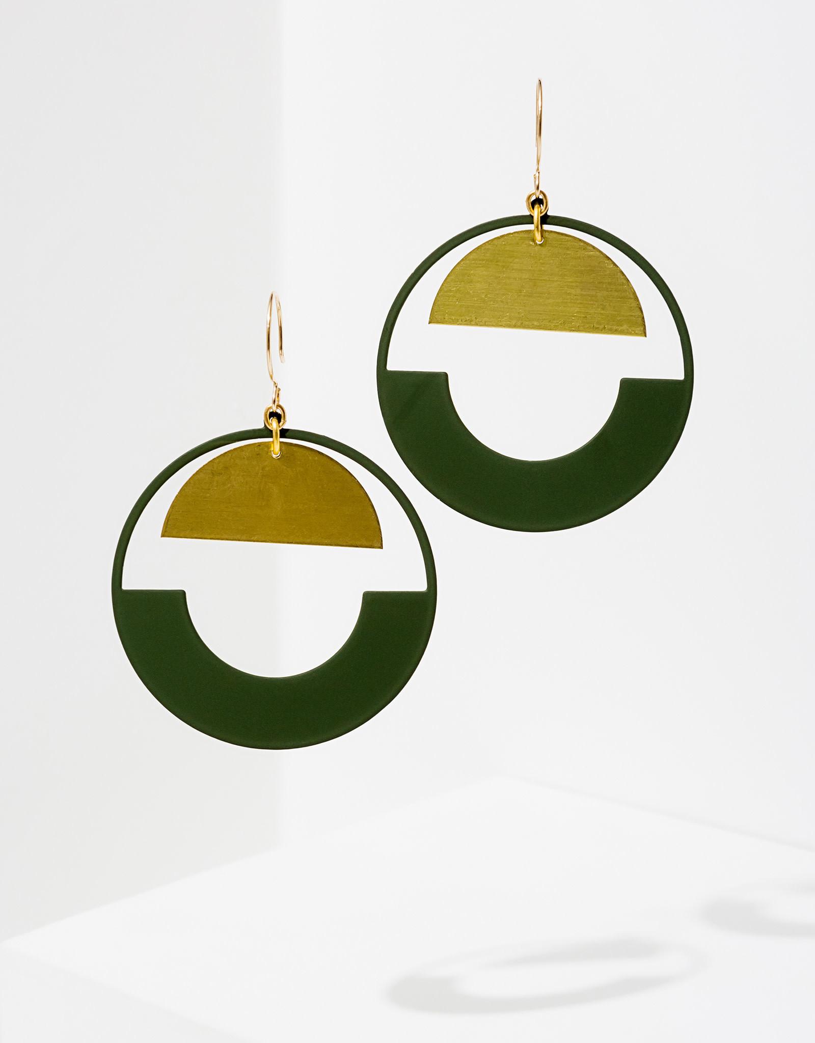 Baltic Hoop Earrings - Green