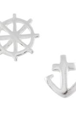 Wheel and Anchor Stud Earrings