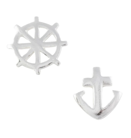 Wheel and Anchor Stud Earrings