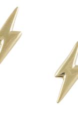 Gold Lightning Bolt Stud Earring