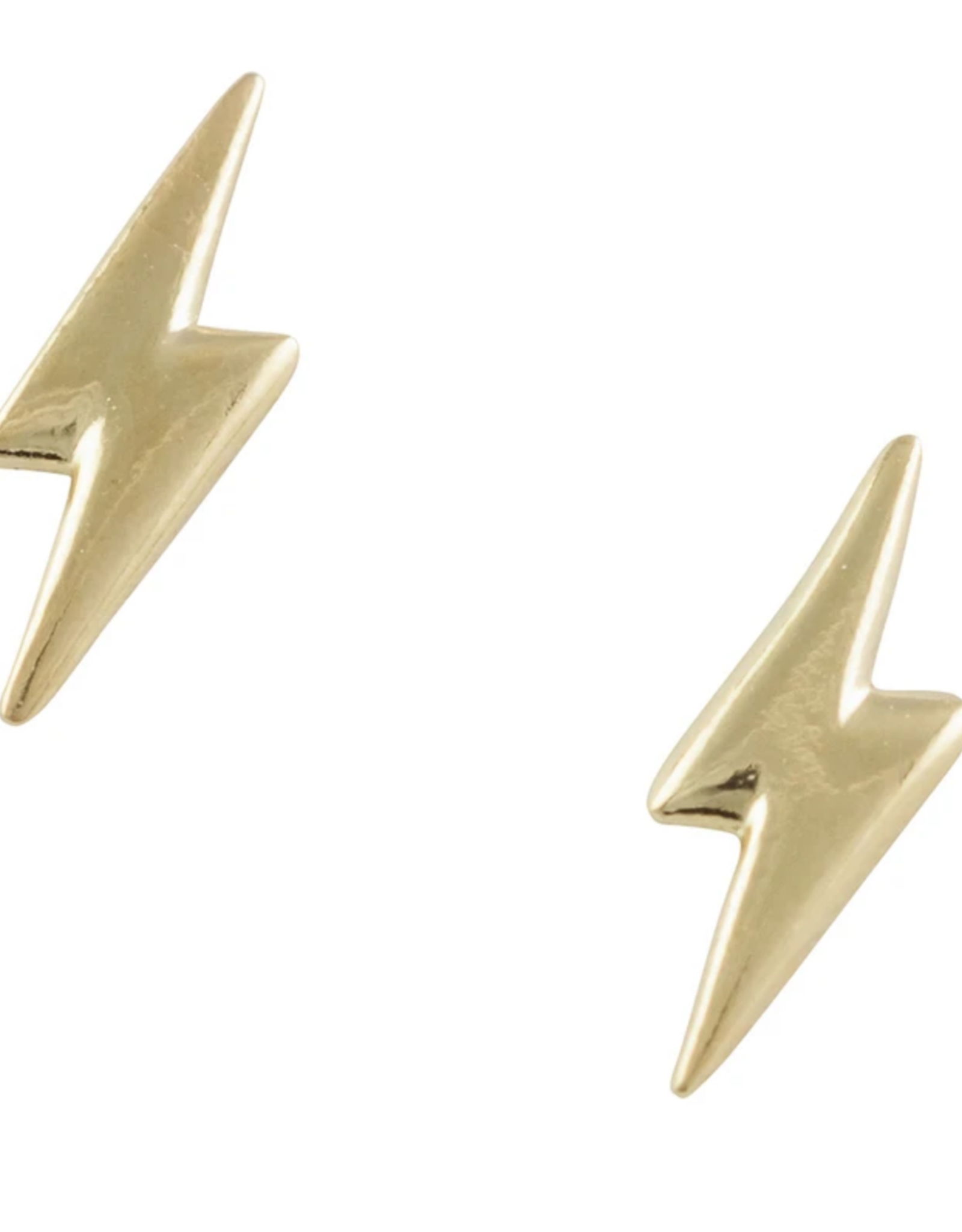 Gold Lightning Bolt Stud Earring