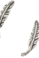 EARRING POST FEATHER SMALL SILVER