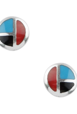 Tricolor Circle Stud Earrings