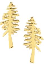 Gold Redwood Tree Stud Earrings