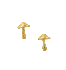 Gold Mushroom Stud Earrings