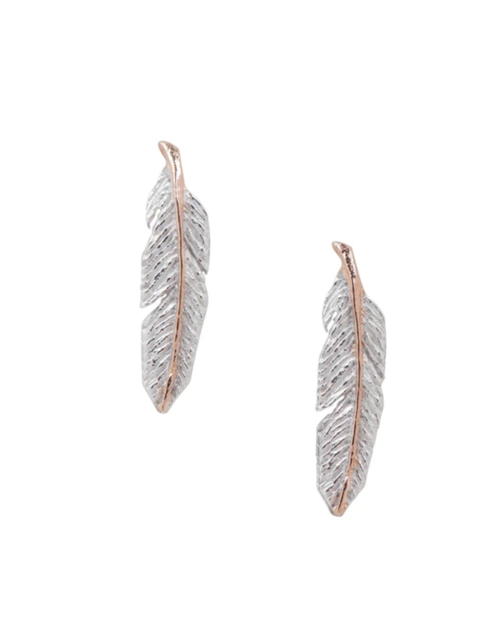 Feather with Rose Gold Earrings