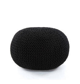 Jute Knit Black Pouf